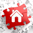 Home Icon on Red Puzzle. — Lizenzfreies Foto