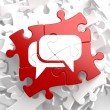 White Speech Bubble Icon on Red Puzzle. — Lizenzfreies Foto