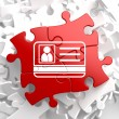 ID Card Icon on Red Puzzle. — Stock Photo