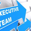 Executive Team on Blue Arrow. — Stock Photo