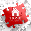 Insurance - Home Icon on Red Puzzle. — Stock Photo