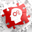 Stock Photo: Psychological Concept on Red Puzzle.