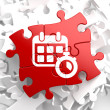 Stock Photo: Calendar with Timer Icon on Red Puzzle.