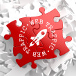 Web Traffic Concept on Red Puzzle. — Stock Photo