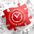 Time Management Concept on Red Puzzle. — Stockfoto