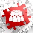 Group of Graduates Icon on Red Puzzle. — Stock Photo