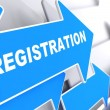 Registration on Blue Arrow. — Stock Photo