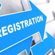 Stock Photo: Registration on Blue Arrow.