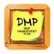 DMP. Yellow Sticker on Bulletin. — Stock Photo