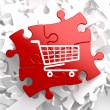 Shopping Cart Icon on Red Puzzle. — Stock Photo