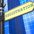 Registration. Yellow Roadsign. — Stock Photo