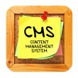 CMS. Yellow Sticker on Bulletin. — Stock Photo