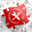 Customize Concept on Red Puzzle. — Foto Stock