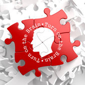 Turn On the Brain: Red Puzzle. — Stock Photo