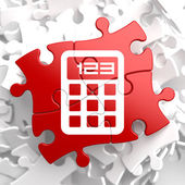 Calculator Icon on Red Puzzle. — Stock Photo