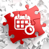 Calendar with Timer Icon on Red Puzzle. — Stock Photo