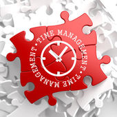 Time Management Concept on Red Puzzle. — Stock Photo
