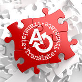 Translating Concept on Red Puzzle. — Stok fotoğraf