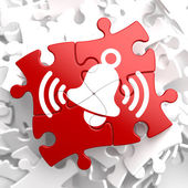 Ringing White Bell Icon on Red Puzzle. — Stock Photo