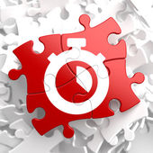 Stopwatch Icon on Red Puzzle. — Stock Photo