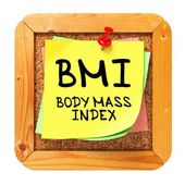BMI. Yellow Sticker on Bulletin. — Stock Photo