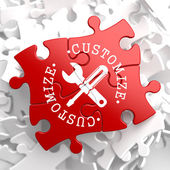 Customize Concept on Red Puzzle. — Stock Photo