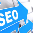 SEO on Blue Arrow. — 图库照片