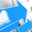 Open Book Icon on Blue Arrow. — Stock Photo
