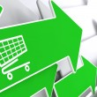 Shopping Cart Icon on Green Arrow. — Stock Photo