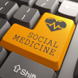 Keyboard Social Medicine Orange Button. — Stock Photo