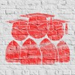 Red Group of Graduates Icon on White Brick Wall. — Stock Photo