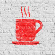 Red Cup of Coffee Icon on White Brick Wall. — Stock Photo