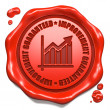 Improvement Guaranteed - Stamp on Red Wax Seal. — Stock Photo