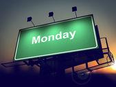 Monday - Billboard on the Sunrise Background. — Stock Photo