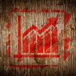 Red Growth Chart Icon on Wood. — Stock Photo
