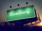 Coaching - Billboard on the Sunrise Background. — Stock Photo