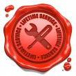 Stock Photo: Lifetime Service - Stamp on Red Wax Seal.