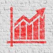 Red Growth Chart Icon on White Brick Wall. — Stock Photo