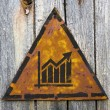 Growth Chart Icon on Rusty Warning Sign. — Foto de Stock
