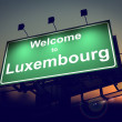 Billboard Welcome to Luxembourg at Sunrise. — Stock Photo
