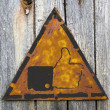 Thumb Up Icon on Rusty Warning Sign. — Stock Photo
