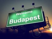 Billboard Welcome to Budapest at Sunrise. — Stock Photo