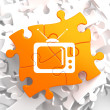 TV Set Icon on Orange Puzzle. — Stock Photo