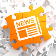 Newspaper Icon with News Word on Orange Puzzle. — Stock Photo