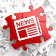 Newspaper Icon with News Word on Red Puzzle. — Stock Photo