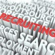 Stock Photo: Recruiting - Red Text on White Wordcloud.