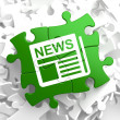 Newspaper Icon with News Word on Green Puzzle. — Stock Photo