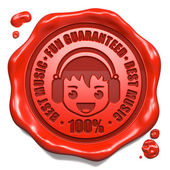 Fun Guaranteed, Best Music - Red Wax Seal. — Stock Photo