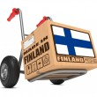 Made in Finland - Cardboard Box on Hand Truck. — Stock Photo