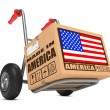 Made in USA - Cardboard Box on Hand Truck. — Stock Photo